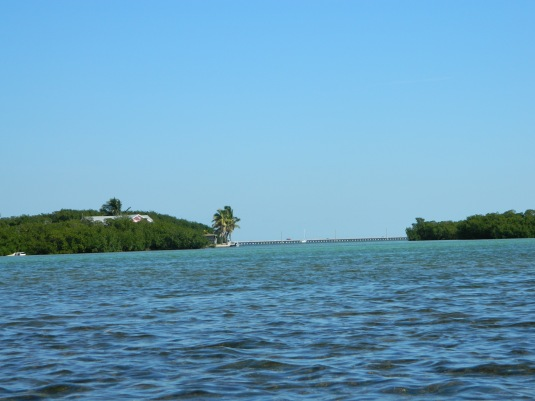 Crossing the channel; Overseas Highway in the distance