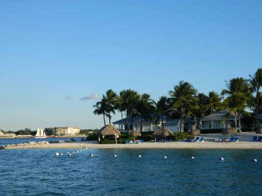 The view from ferry of Sunset Key Westin Resort